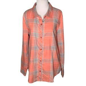 NWT O'Neill Orange/Gray Long Sleeve Plaid Shirt XL
